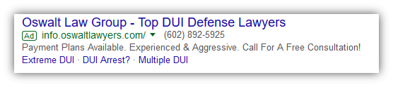 Lawyer Adwords Sitelink Extension